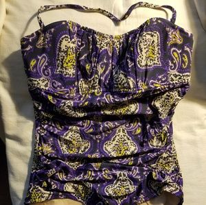 New J. Crew Ruched Bandeau Swimsuit size 10